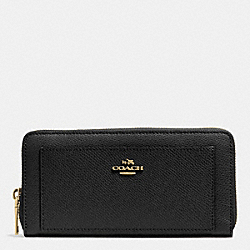 COACH F52648 - LEATHER ACCORDION ZIP WALLET LIGHT GOLD/BLACK