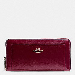 COACH ACCORDION ZIP WALLET IN LEATHER - IMITATION GOLD/SHERRY - F52648