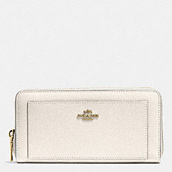 COACH ACCORDION ZIP WALLET IN LEATHER - LIGHT GOLD/CHALK - F52648
