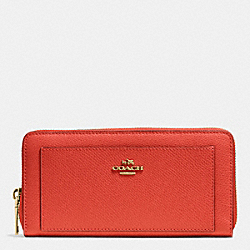 COACH ACCORDION ZIP WALLET IN LEATHER - IMITATION GOLD/CARMINE - F52648