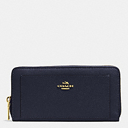 COACH ACCORDION ZIP WALLET IN LEATHER - LIGHT GOLD/MIDNIGHT - F52648