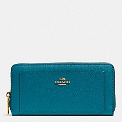 COACH LEATHER ACCORDION ZIP WALLET - LIGHT GOLD/TEAL - F52648