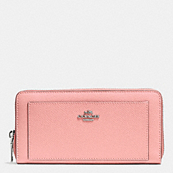 COACH ACCORDION ZIP WALLET IN LEATHER - SILVER/BLUSH - F52648