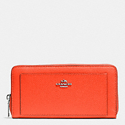 COACH LEATHER ACCORDION ZIP WALLET - SILVER/CORAL - F52648