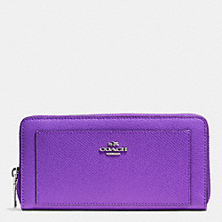 COACH ACCORDION ZIP WALLET IN LEATHER - SILVER/PURPLE IRIS - F52648