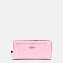 COACH ACCORDION ZIP WALLET IN LEATHER - SILVER/PETAL - F52648