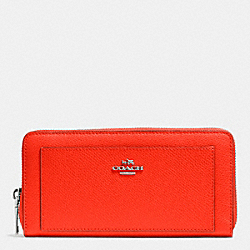 COACH ACCORDION ZIP WALLET IN LEATHER - SILVER/ORANGE - F52648