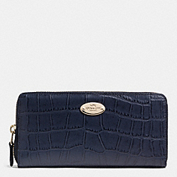 COACH ACCORDION ZIP WALLET IN EMBOSSED CROCO LEATHER - LIGHT GOLD/MIDNIGHT - F52654