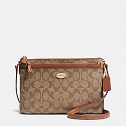 COACH EAST/WEST POP CROSSBODY IN SIGNATURE - LIGHT GOLD/KHAKI/SADDLE - F52657