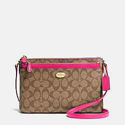 EAST/WEST POP CROSSBODY IN SIGNATURE CANVAS - f52657 -  LIGHT GOLD/KHAKI/PINK RUBY