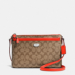 COACH EAST/WEST POP CROSSBODY IN SIGNATURE - SILVER/KHAKI/ORANGE - F52657