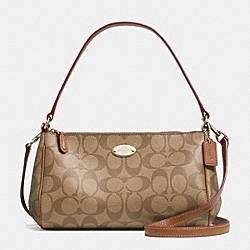 COACH SIGNATURE COATED CANVAS TOP HANDLE POUCH - LIGHT GOLD/KHAKI/SADDLE - F52678
