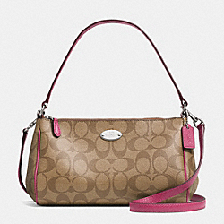 SIGNATURE COATED CANVAS TOP HANDLE POUCH - SILVER/KHAKI/SUNSET RED - COACH F52678
