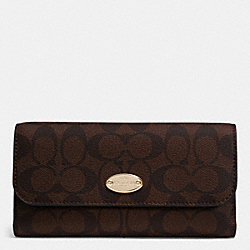 COACH F52681 - SIGNATURE COATED CANVAS CHECKBOOK WALLET LIGHT GOLD/BROWN/BLACK