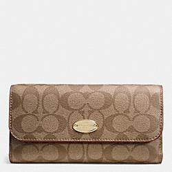 COACH CHECKBOOK WALLET IN SIGNATURE COATED CANVAS - LIGHT GOLD/KHAKI/PINK RUBY - F52681