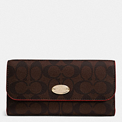COACH SIGNATURE COATED CANVAS CHECKBOOK WALLET - IMITATION GOLD/BROWN TRUE RED - F52681