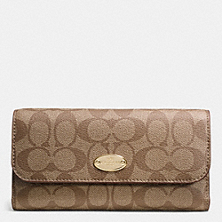 COACH SIGNATURE COATED CANVAS CHECKBOOK WALLET - IMITATION GOLD/KHAKI AUBERGINE - F52681