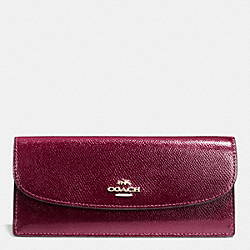 SOFT WALLET IN LEATHER - IMITATION GOLD/SHERRY - COACH F52689