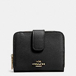 COACH MEDIUM ZIP AROUND WALLET IN LEATHER - LIGHT GOLD/BLACK - F52692