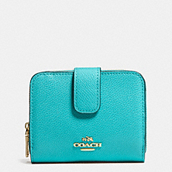 COACH MEDIUM ZIP AROUND WALLET IN LEATHER - LIGHT GOLD/CADET BLUE - F52692