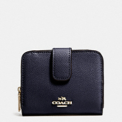 COACH MEDIUM ZIP AROUND WALLET IN LEATHER - LIGHT GOLD/MIDNIGHT - F52692