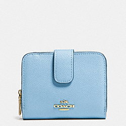 COACH MEDIUM ZIP AROUND WALLET IN LEATHER - LIGHT GOLD/PALE BLUE - F52692