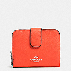 COACH MEDIUM LEATHER ZIP AROUND WALLET - SILVER/CORAL - F52692