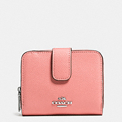 COACH MEDIUM ZIP AROUND WALLET IN LEATHER - SILVER/PINK - F52692