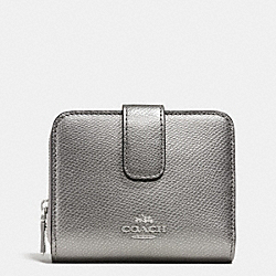 COACH MEDIUM ZIP AROUND WALLET IN LEATHER - SILVER/PEWTER - F52692