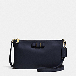 COACH EAST/WEST CROSSBODY WITH BOW IN LEATHER - LIGHT GOLD/MIDNIGHT - F52698