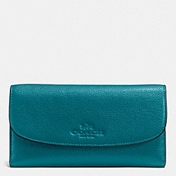 COACH CHECKBOOK WALLET IN PEBBLE LEATHER - IMITATION GOLD/ATLANTIC - F52715