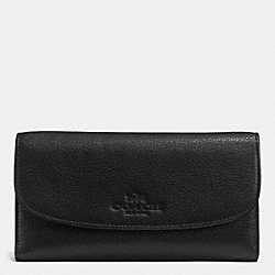PEBBLE LEATHER CHECKBOOK WALLET - f52715 - LIGHT GOLD/BLACK