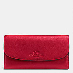 COACH PEBBLE LEATHER CHECKBOOK WALLET - IMITATION GOLD/TRUE RED - F52715