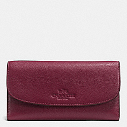 COACH PEBBLE LEATHER CHECKBOOK WALLET - SILVER/BURGUNDY - F52715