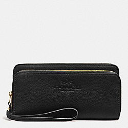 COACH F52718 - PEBBLE LEATHER WITH DOUBLE ACCORDIAN ZIP WALLET LIGHT GOLD/BLACK