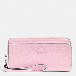 DOUBLE ACCORDION ZIP WALLET IN PEBBLE LEATHER - SILVER/PETAL - COACH F52718