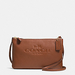 COACH PEBBLE LEATHER LYLA DOUBLE GUSSET CROSSBODY - LIGHT GOLD/SADDLE - F52720