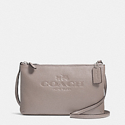 COACH PEBBLE LEATHER LYLA DOUBLE GUSSET CROSSBODY - SILVER/GREY BIRCH - F52720