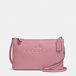 COACH PEBBLE LEATHER LYLA DOUBLE GUSSET CROSSBODY - SILVER/SHADOW ROSE - F52720