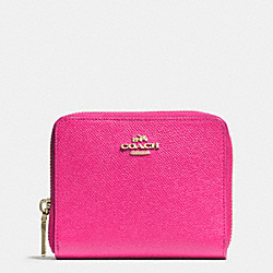 COACH MEDIUM CONTINENTAL WALLET IN CROSSGRAIN LEATHER - LIGHT GOLD/PINK RUBY - F52766