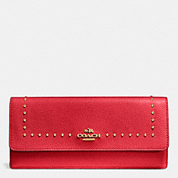 COACH EDGE STUDS SOFT WALLET IN CROSSGRAIN LEATHER - LIGHT GOLD/RED - F52772