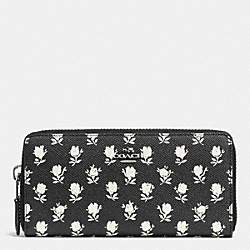 COACH ACCORDION ZIP WALLET IN PRINTED CROSSGRAIN LEATHER - SILVER/BK PCHMNT BDLND FLR - F52777