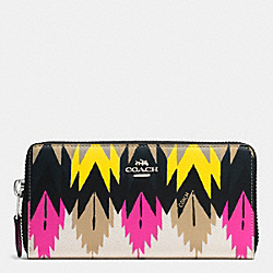 COACH ACCORDION ZIP WALLET IN PRINTED CROSSGRAIN LEATHER - SILVER/HAWK FEATHER - F52777