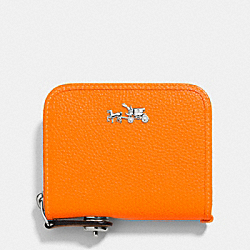 C.O.A.C.H. ZIP AROUND COIN CASE IN POLISHED PEBBLE LEATHER - SILVER/NEON ORANGE - COACH F52786
