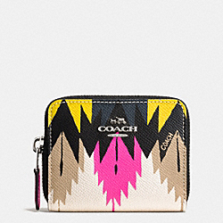 ZIP AROUND COIN CASE IN PRINTED CROSSGRAIN LEATHER - SILVER/HAWK FEATHER - COACH F52787