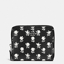 COACH MEDIUM CONTINENTAL WALLET IN PRINTED CROSSGRAIN LEATHER - SILVER/BK PCHMNT BDLND FLR - F52788