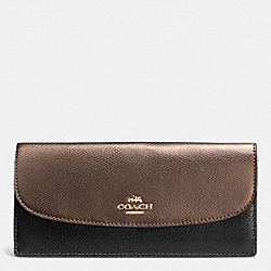 SOFT WALLET IN BICOLOR CROSSGRAIN LEATHER - IME8Y - COACH F52845