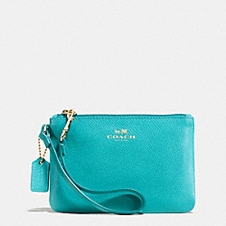 COACH SMALL WRISTLET IN CROSSGRAIN LEATHER - LIGHT GOLD/CADET BLUE - F52850