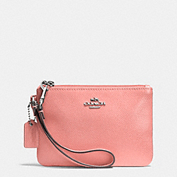 COACH SMALL WRISTLET IN CROSSGRAIN LEATHER - SILVER/PINK - F52850