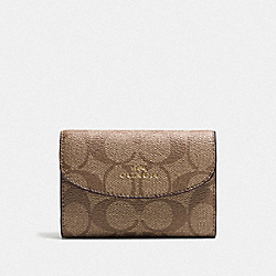 KEY CASE IN SIGNATURE CANVAS - KHAKI/SADDLE/GOLD - COACH F52852